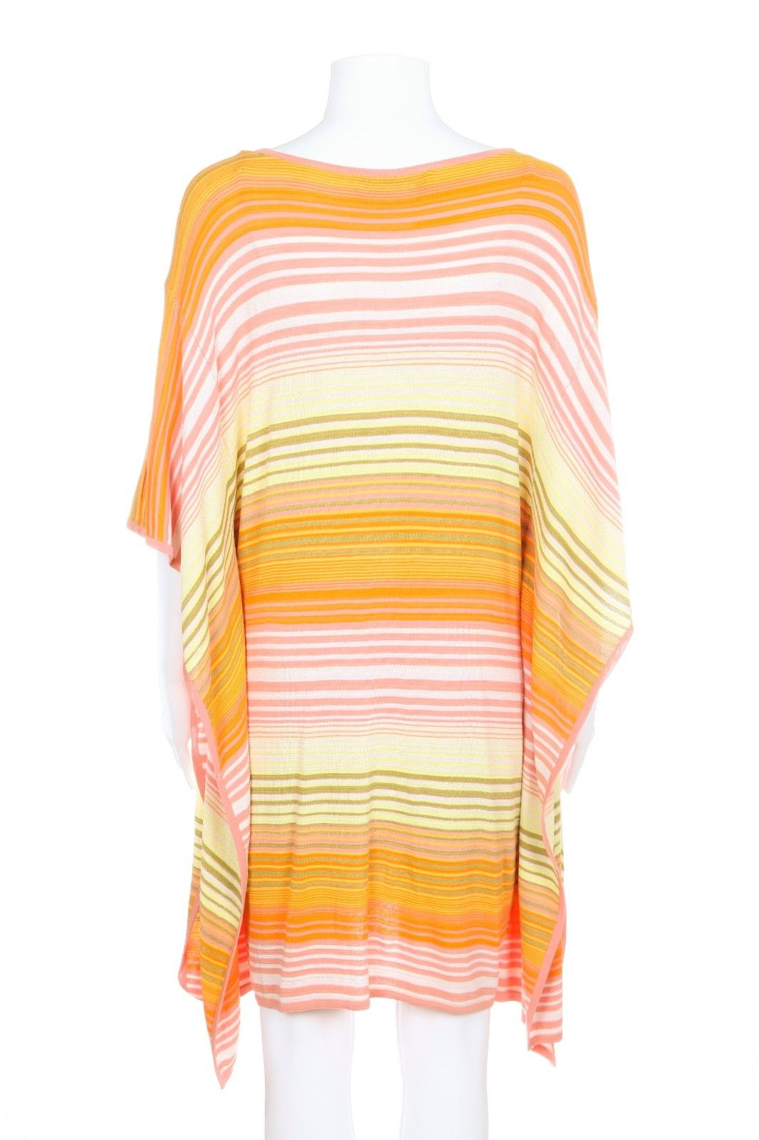 TRINA TURK Dress Small Pink Yellow Orange Green Striped Tunic Cocktail Wedding