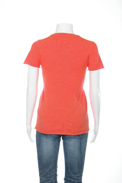 J.CREW Collection Orange Top 100% Italian Cashmere Sweater Size S