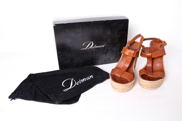 DELMAN Brown Leather Trish Wedge Sandal Size 7.5 (New)