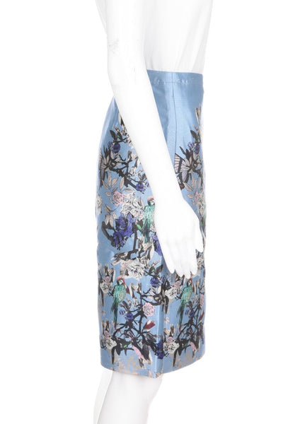 J.CREW Collection Blue Floral Skirt 100% Silk Size 0 (New)
