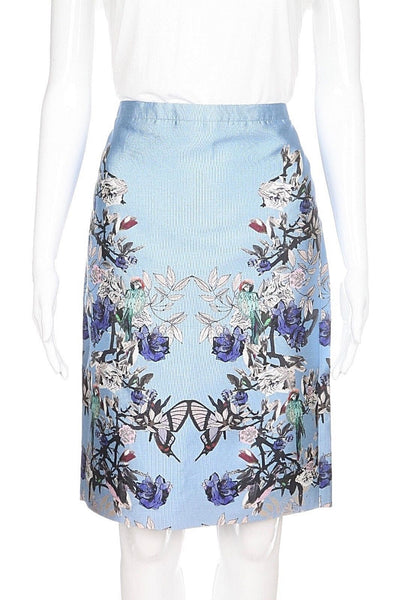 J.CREW Collection Skirt 0 Silk Light Blue Floral Bird Print Straight NWT $325