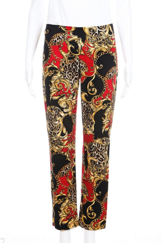 BOSTON PROPER Ankle Pants 4 Red Black Gold Chain Leopard Print Skinny