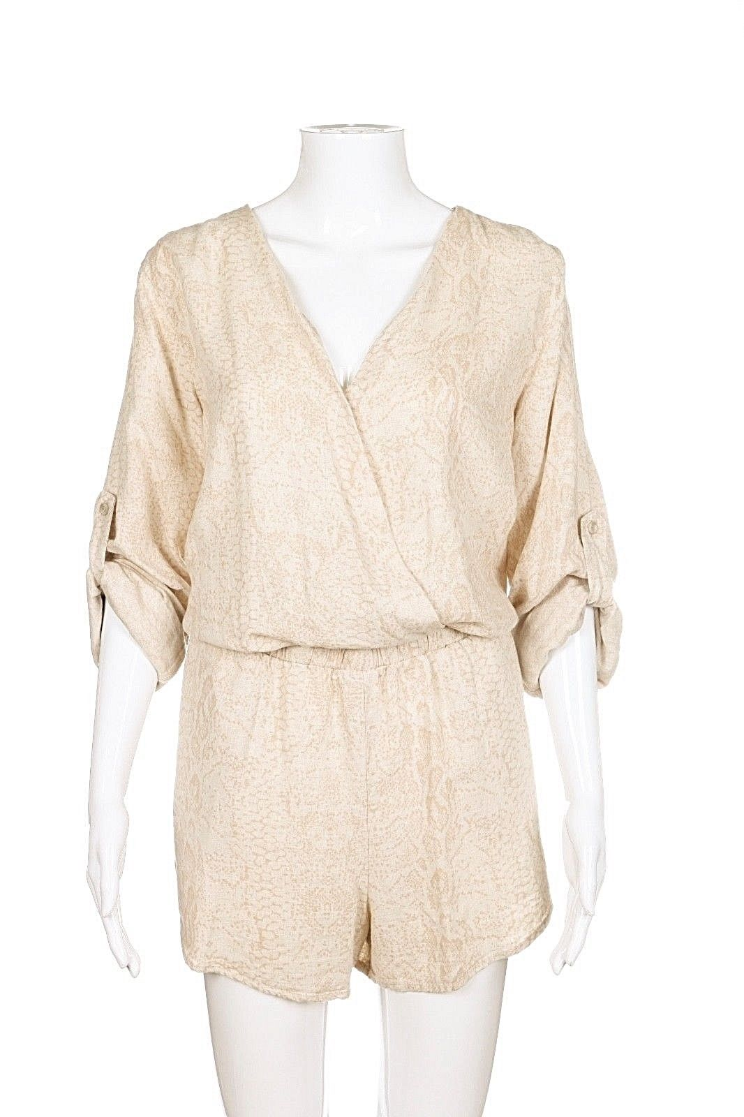 style-hunting ANTHROPOLOGIE CLOTH & STONE Romper Medium Beige Stone Animal Print (New w/ Tags)