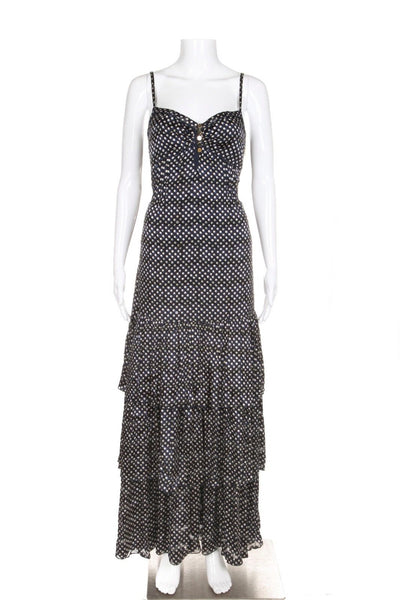 TORY BURCH Marilou Dress Maxi 2 Navy Blue Polka Dot Tiered Gown New