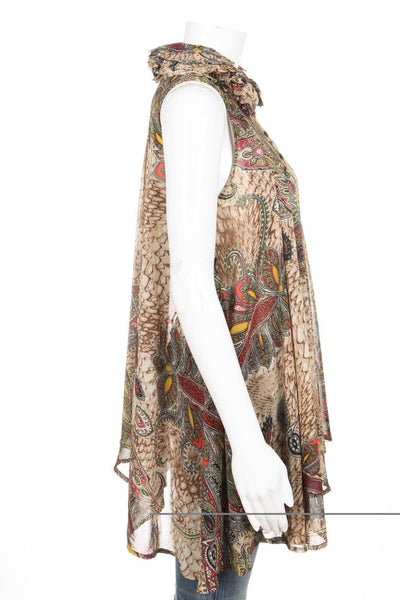 JAIPUR Sheer Top Paisley Ruffle Collar Size S