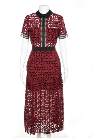 SELF-PORTRAIT Dress Maroon Crochet Lace Size 6