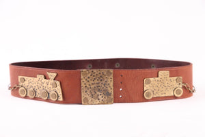 3.1 PHILLIP LIM BROWN LEATHER BELT HAMMERED METAL TRAIN EMBELLISHMENT SIZE SMALL