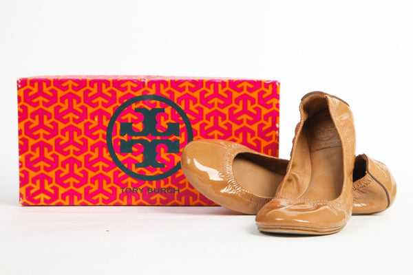 TORY BURCH Tan Patent Leather Eddie Ballet Flats Size 7.5