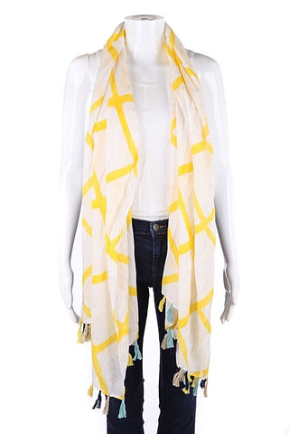 MICHAEL STARS Yellow White Print Fringe Scarf (New)