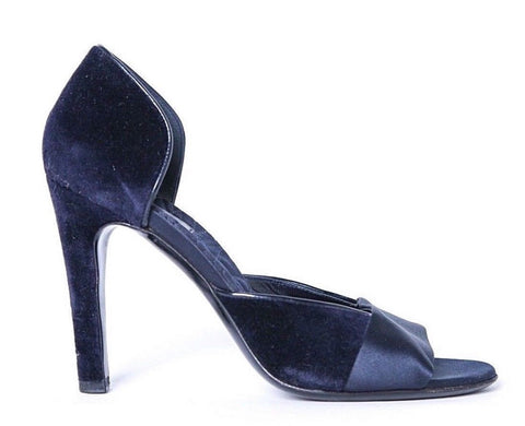 GUCCI Heels US 7 EU 37 Satin Velvet Blue D'Orsay  Open Toe Pumps