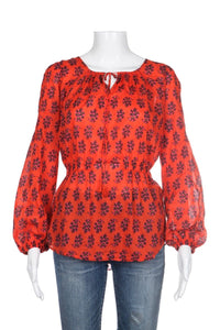 TORY BURCH Blouse Size 6 Orange Red Sheer Peplum Tunic Top  Floral Print Style-hunting