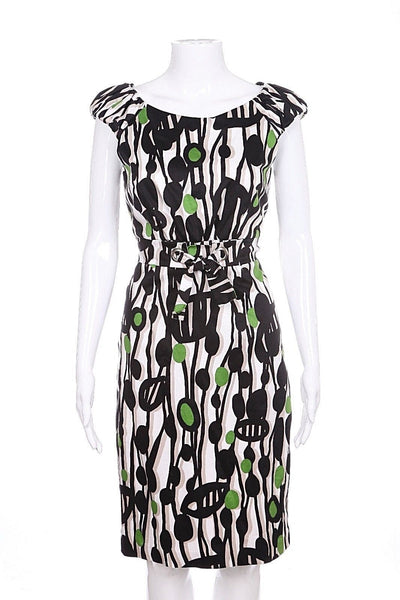 DAVID MEISTER Dress Size 4 Green Black Abstract Empire Neiman Marcus Cocktail