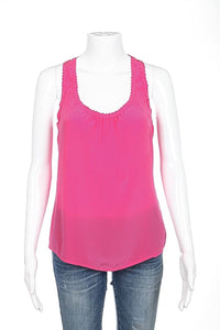 TRINA TURK Top Small 100% Silk Pink Racerback Tank Top Scalloped Neckline