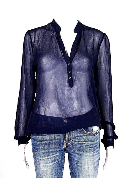 TART Sheer Blouse Silk Navy Blue (New)