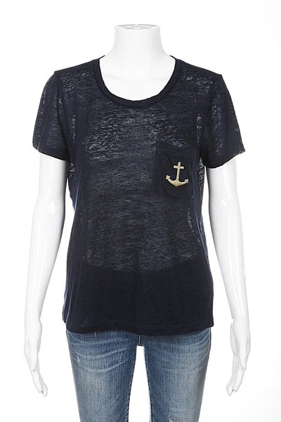 J.CREW Top Size XS 100% Linen Navy Blue Gold Anchor T-shirt Pocket Tee Nautical