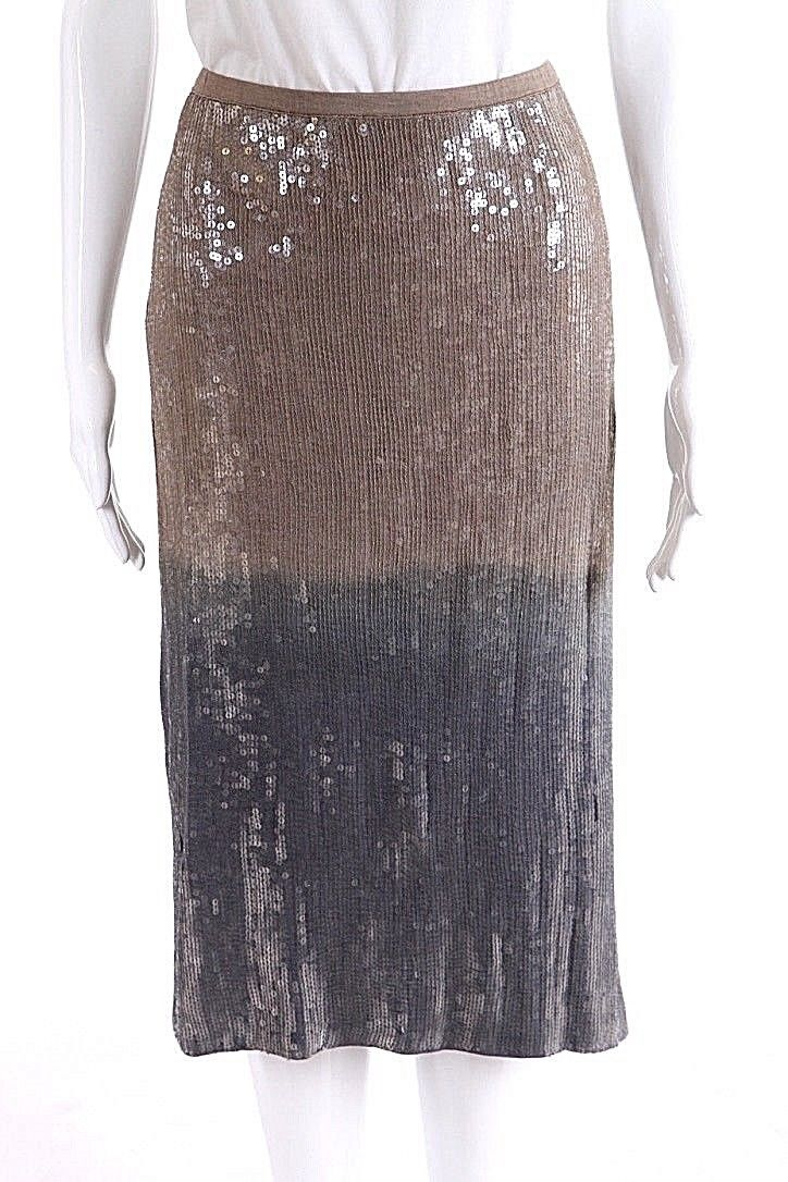 CHAN LUU Skirt Small Taupe Gray Ombre Sequin Pencil Stretchy