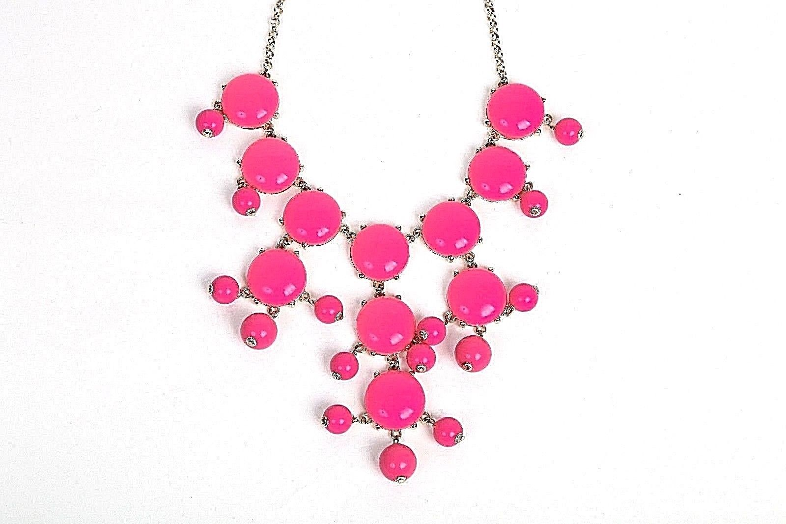 J. CREW Necklace Pink Fuchsia Gold Plated Chain Bubble Dangling Bib
