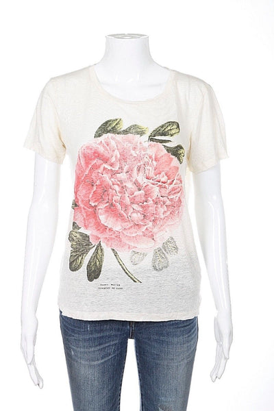 J.CREW Top Size XS Linen Ivory Large Flower Print T-shirt Tee