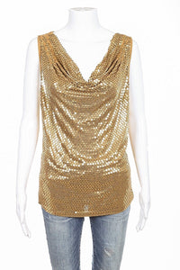 MICHAEL KORS Top Size Large Gold Sequin Embellished Sleeveless Draped Neck