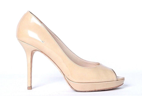 JIMMY CHOO LONDON Heels US 7 EU 37 Patent Leather Nude Peep Toe Platform Pumps