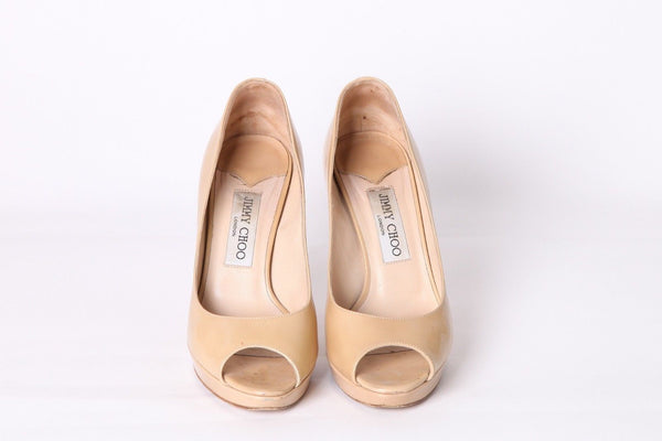 JIMMY CHOO Heels Patent Leather Nude Pumps Size 37