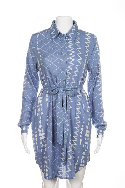 TULAROSA Revolve Long Sleeve Dress XS Blue White Waist Tie Shirt Casual