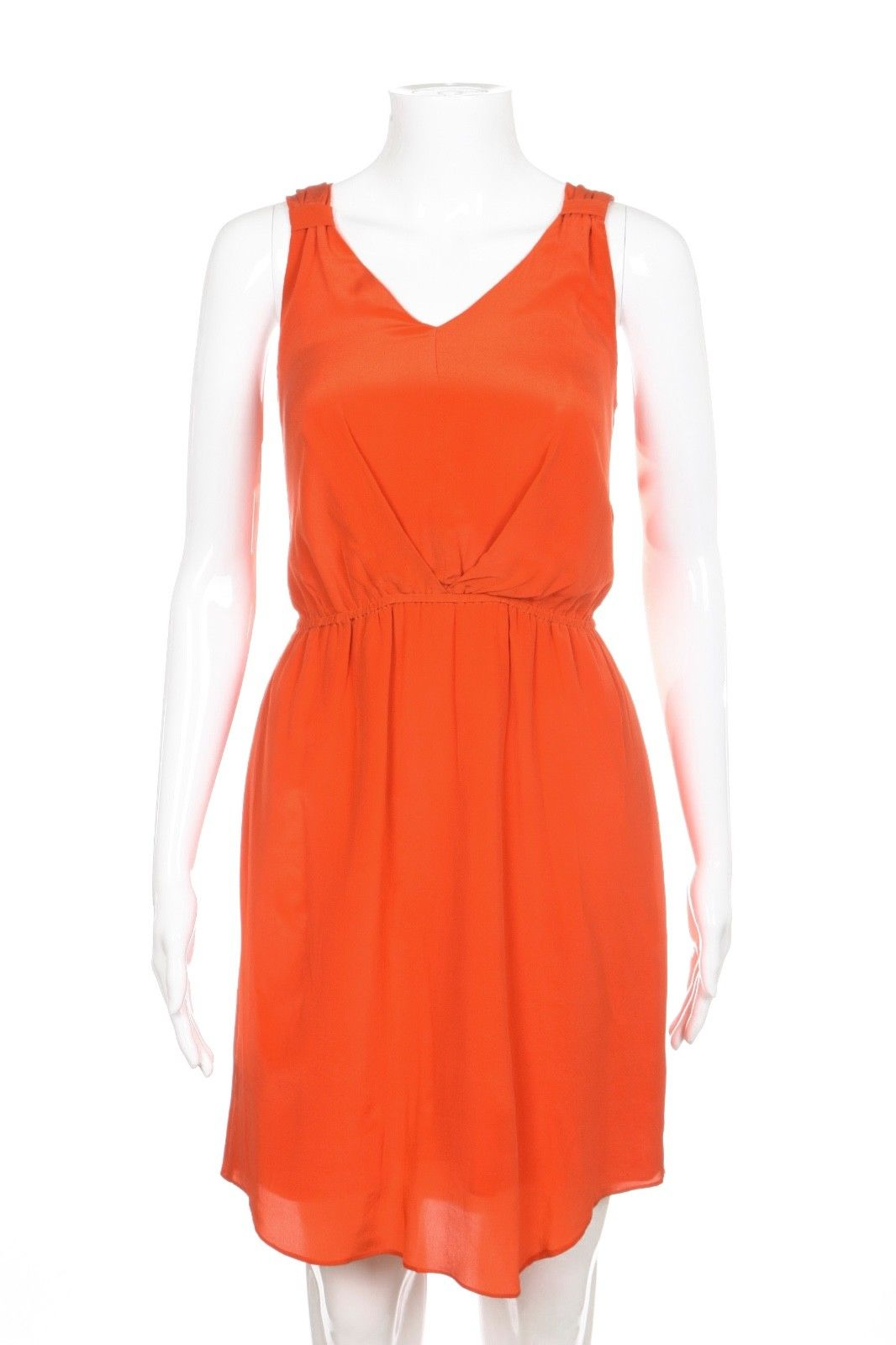 ALEX + ALEX 100% Silk Dress Small Orange Cocktail Elastic Waist Draped