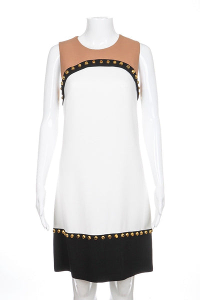 MICHAEL KORS Shift Dress 6 White Gold Studs Cocktail Black Wedding Guest