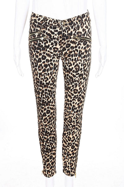 JUICY COUTURE Pants Size 26 skinny Animal Cheetah Print Brown Black Gold Zipper