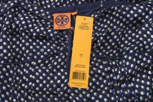 TORY BURCH Marilou Dress Maxi Navy Blue Size 2 (New)