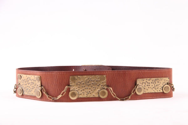 3.1 PHILLIP LIM Leather Belt Hammered Metal