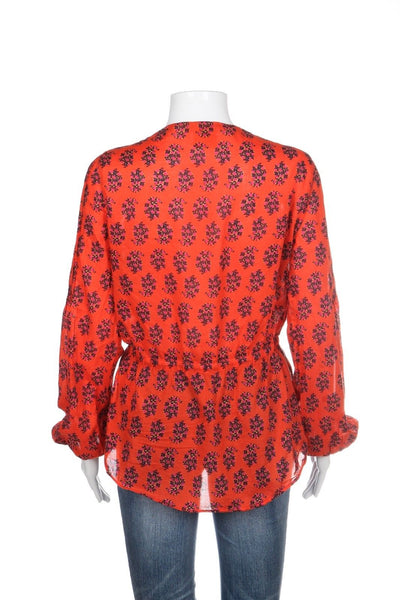 TORY BURCH Blouse Sheer Orange Red Floral Size 6