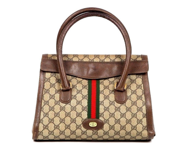 GUCCI Bag Vintage Monogram Leather Brown Flap Shoulder Handbag 100% Authentic