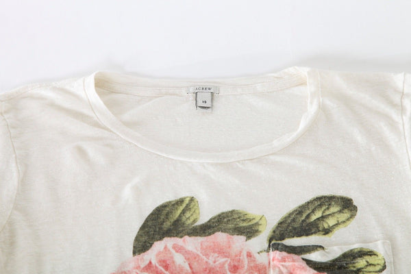 J.CREW Top Linen Ivory Large Flower