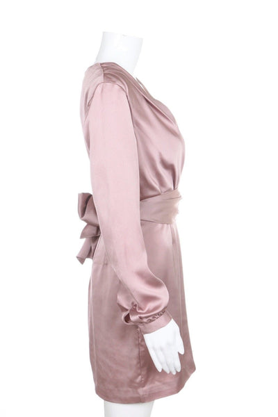 FINDERS Satin Wrap Dress Dusty Rose Pink Size XS