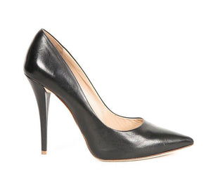 GIANNI MARRA Pumps Black Leather Pointed Toe Size 38.5