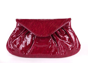LAUREN MERKIN Clutch Patent Leather Flap Bag Fuchsia Pink