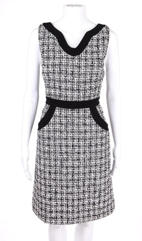 MILLY Dress 8 Wool Black White Sleeveless Herringbone Tweed Cocktail
