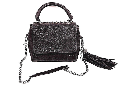 CASSANDRA LOS ANGELES Studded Pebbled Handbag Black Leather