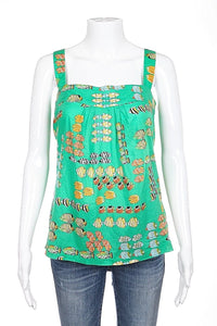 J.CREW Top Size 0 Cotton Green Fish Print Spaghetti Strap Tank Top Pleated