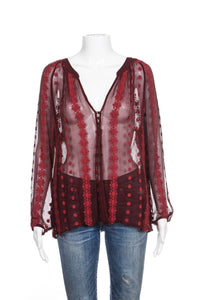 ZOA Blouse 100% Silk Red Sheer Embroidered Size 8