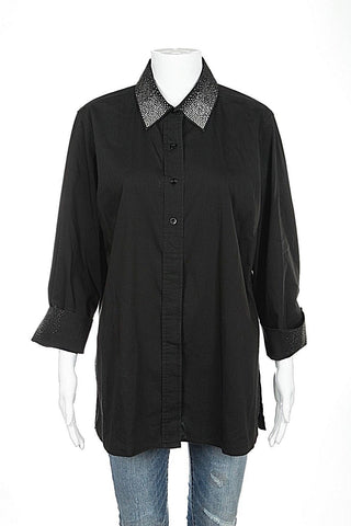 CHRISTINE ALEXANDER Top Black Large Button Down Long Sleeve Embellished