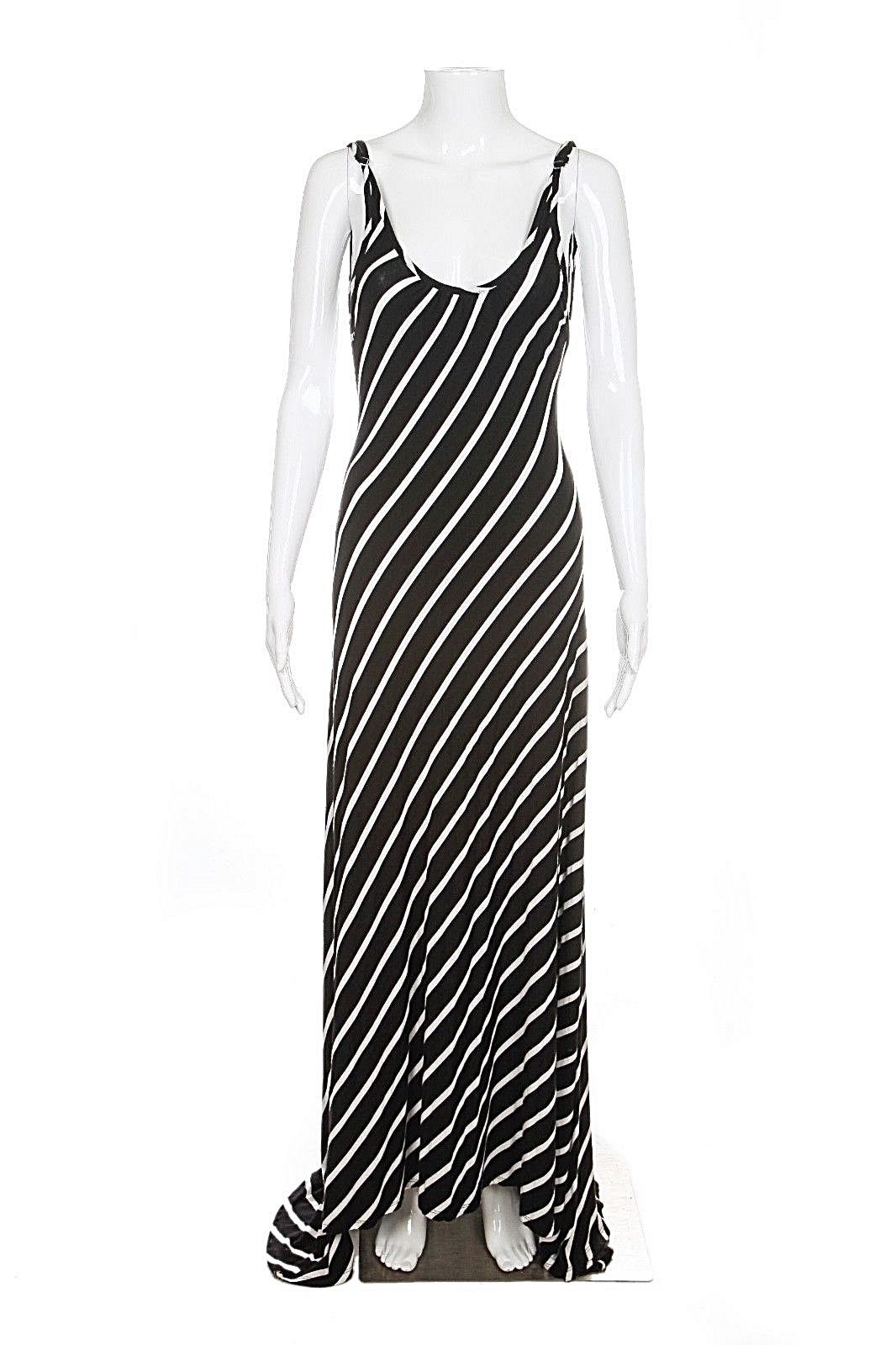 FEATHERS Striped Sexy Low Back Maxi Dress Small Black White Stretchy Jersey