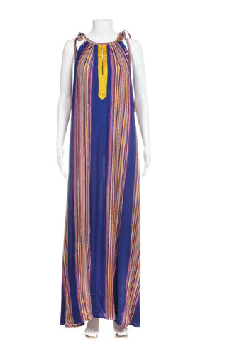 SEDA ME Maxi Dress Blue Boho Gold Embroidery Size OS