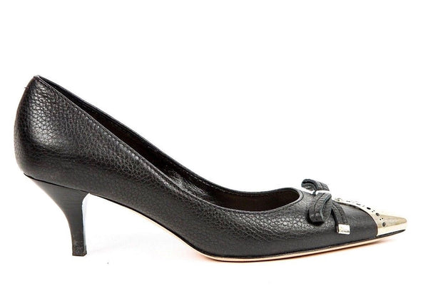 SEBASTIAN MILANO Pumps Black Leather Pointed Silver Toe