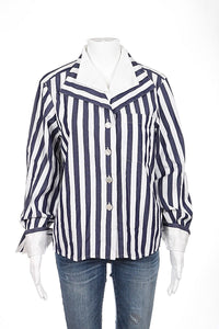 MAX MARA Top SIZE 4 100% Cotton Blue White Stripe Blouse Long Sleeve Button Up