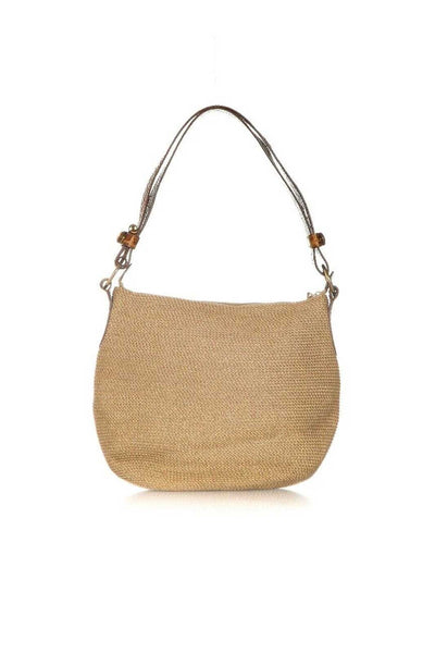 ERIC JAVITS Straw and Leather Shoulder Bag - back view
