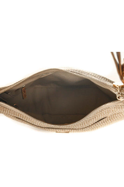 ERIC JAVITS Straw and Leather Shoulder Bag - inside view