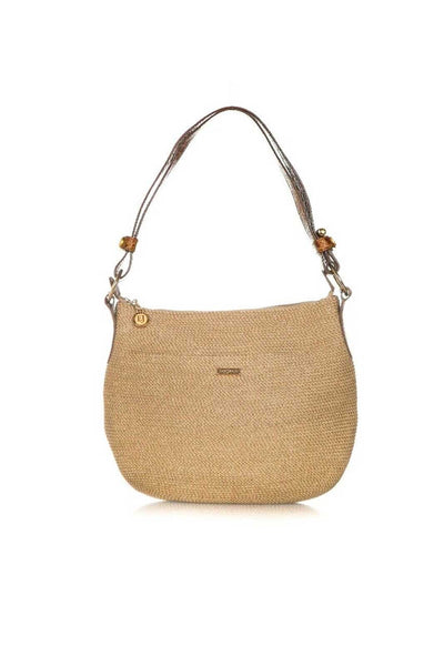 ERIC JAVITS Straw and Leather Shoulder Bag