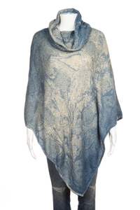 PETANU BY PASHMA Silk Cashmere Wool Poncho Knit Blue Sweater